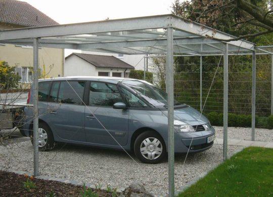 offene Carports, verzinkt mit Glasdach