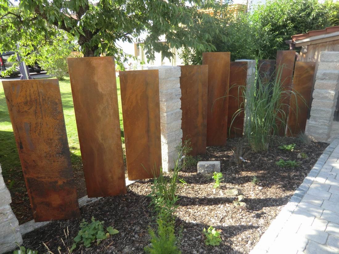 Gartengestaltung Mit Cortenstahl Hochterrasse Laubengang Pavillon