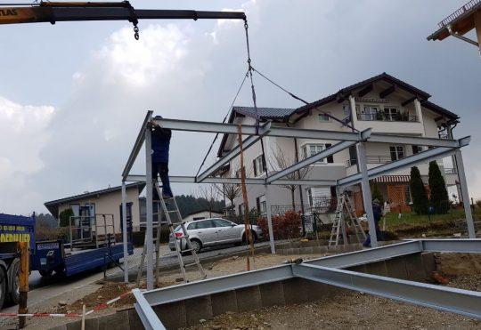 Carports Endorf Aufstellen der Stahlkonstruktion