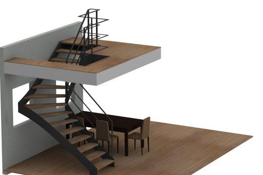 Entwurf Stahlwangentreppe gewendelt mit Geländer